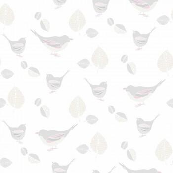 Tapete Beige Pastell Vögel