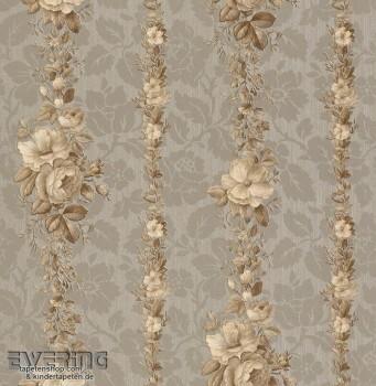 23-362410 Strictly Stripes grau Vinyltapete Blumenranken