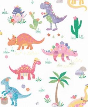Tapete Schimmer Bunte Dinosaurier