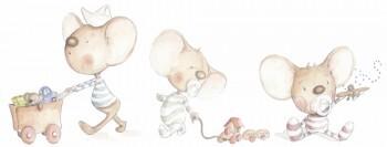 Wandsticker Drei Mäuse Beige Braun