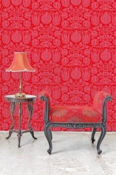 Wandbild Rot Feine Verzierungen Blumen