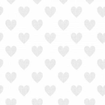 Herz-Tapete Weiß
