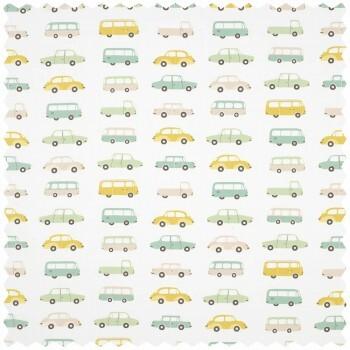 Dekostoff Weiß Autos Taxi Bus