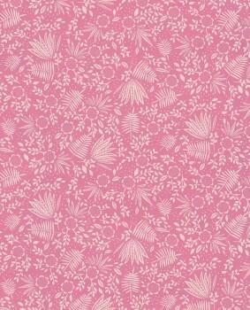 Non-woven wallpaper Pink pattern plants
