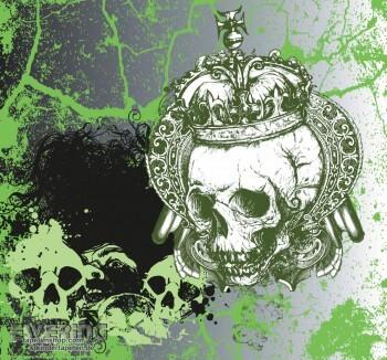 Toten-Kopf Wand-Bild Grün