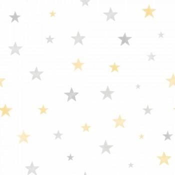 Vliestapete Sterne Grau Gelb