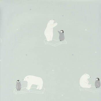 Eisbär Hellblau Tapete