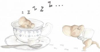 Mäuse Wandsticker Tasse Kaffee