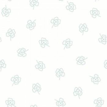 Tapete Weiß Grüne Kleeblätter Vlies