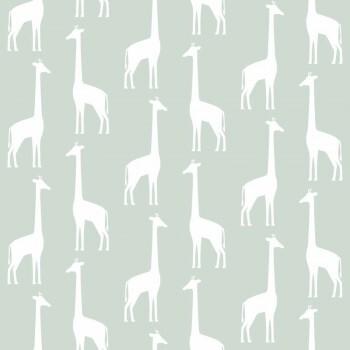 Tapete Mint-Grün Giraffen