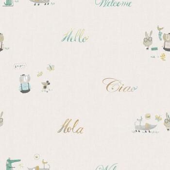 Tapete Papier Weiß Schrift Tiere Grün Gelb Ohlala 335310