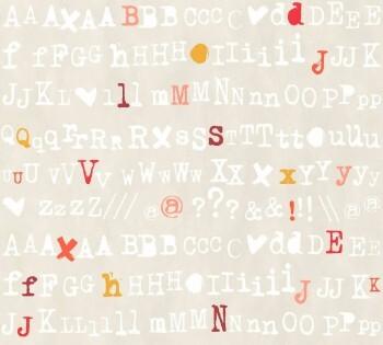 Grau-Beige Tapete Zeichen Buchstaben
