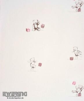 Creme-Weiß Teddybär Papier-Tapete