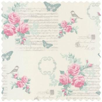 Dekostoff Pink Blumen Muster