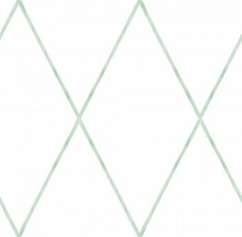 Papiertapete Weiß Grüne Rauten Kinderzimmer Ohlala 335740