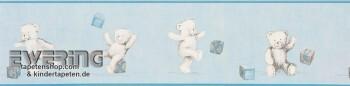 Hell-Blau Borte Papiertapete Teddybär