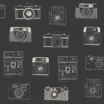 Schwarz Weiß Kameras Vlies-Tapete