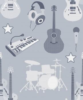 Tapete Musik Blau-Grau Instrumente
