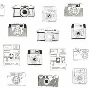 Schwarz-Weiß Vlies Tapete Kameras