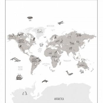 Wandbild Graue Weltkarte Tiere Our Planet OUP102039918