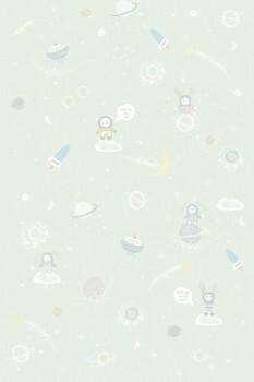 Wandbild Weltall Mint-Grün