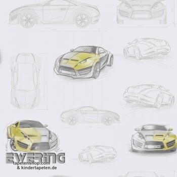 Creme-Weiß Papiertapete Autos