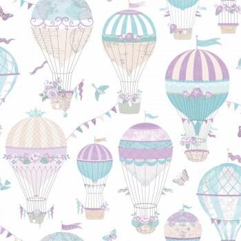 Tapete Lila Türkise Luftballons