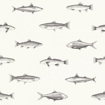Fische Weiß Vliestapete