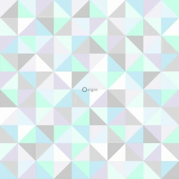 Dreiecke Lila-Blau-Grün Vlies-Tapete