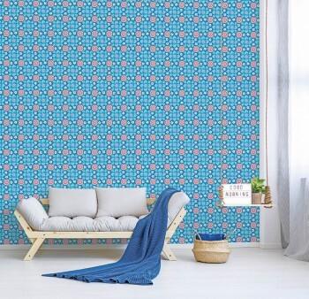 Wandbild Blau Vlies Blümchen