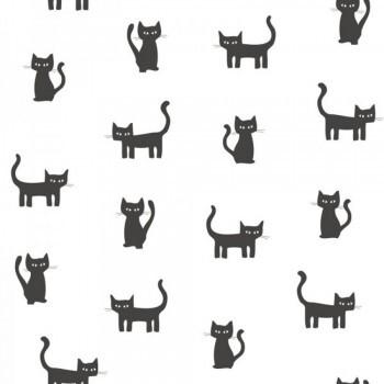 Vliestapete Katzen Schwarz Weiß