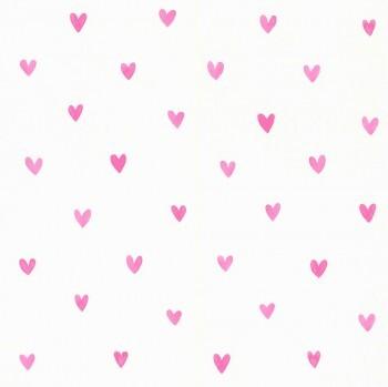 Pink Vlies-Tapete Creme-Weiß Herzen