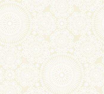 Blumen Muster Tapete Beige Weiß Vlies