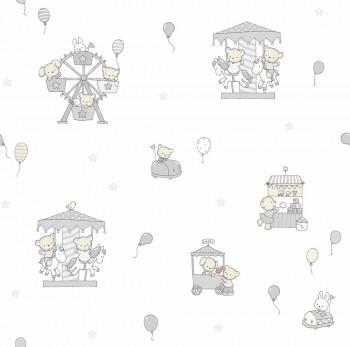 Tapete Tiere Kirmes Grau-Weiß Lullaby