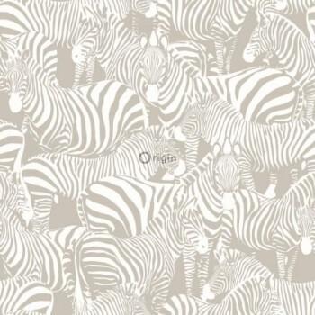 Vliestapete Glänzend Zebra Braun