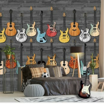 Wandbild Bunte Gitarren Schwarz-Grau