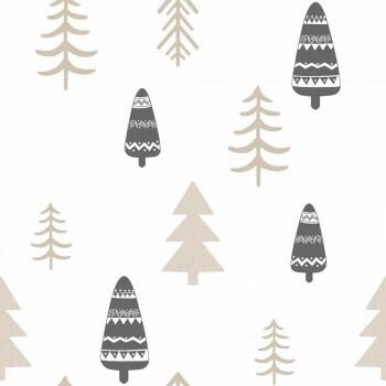 Tapete Wald Bäume Beige Kinder