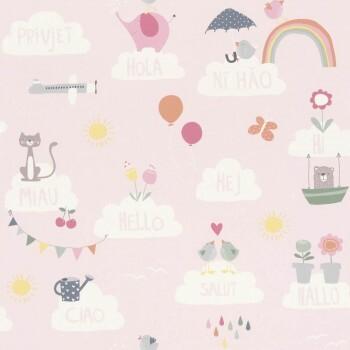 Papier-Tapete Rosa Wolken Sprachen
