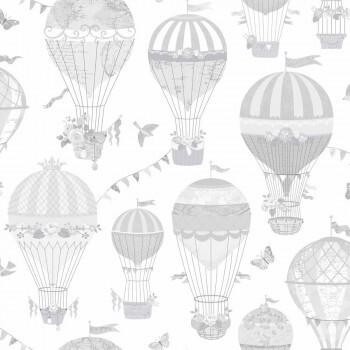 Tapete Luftballons Hell-Grau