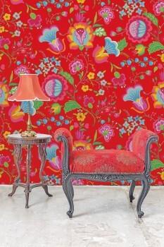 Wandbild Rot Grafische Blumen