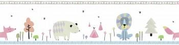 Borte Papier Weiß Pink Blau Wald Selbstklebend Ohlala 345020