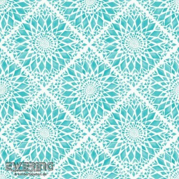 Rasch Textil Cabana 23-148611 Mosaik-Blüten türkis Vliestapete