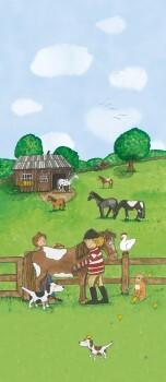 Wandbild Vlies Pferdekoppel Bunt