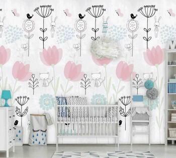 Wandbild Grau Pink Garten Tiere