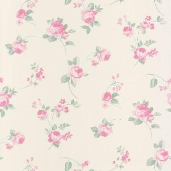 Vlies-Tapete Creme Pink Blumen