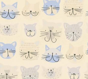 Papiertapete Blaugraue Katzen