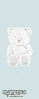 Wandbild Papier Hell-Blau Teddy-Bär