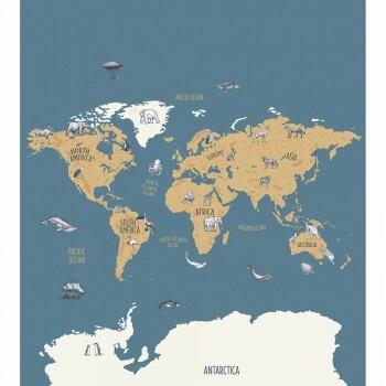 Wandbild Vlies Weltkarte Blau Our Planet OUP102032066
