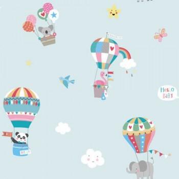 Tapete Heißluftballons Hell-Blau