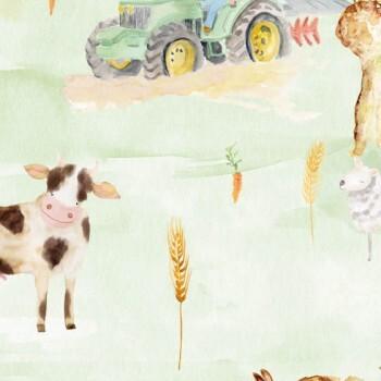 Wandbild Grün Trecker Tiere Acker
